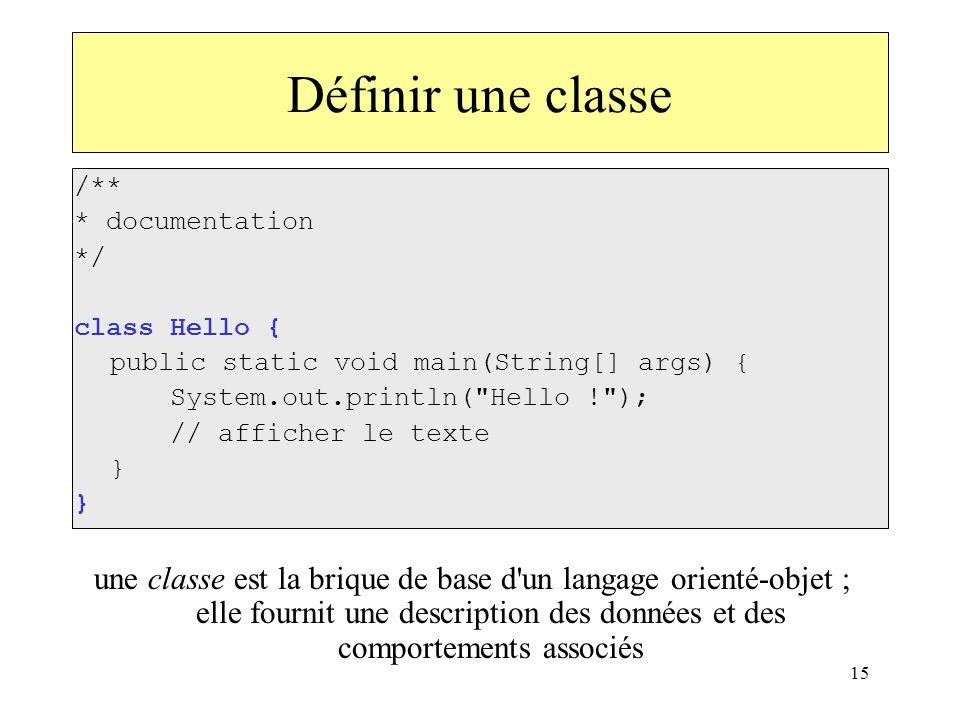 Définir une classe/** * documentation. */ class Hello { public static void main(String[] args) { System.out.println( Hello ! );